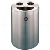 "Glaro BCT20SA Recycle Pro 3 Recycling Can with Half Round Opening and Two Hole Openings - 33 Gallon Capacity - 20"" Dia. x 31"" H - Satin Aluminum"