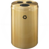 "Glaro BCW20BE Recycle Pro 3 Recycling Can with Three Hole Openings - 33 Gallon Capacity - 20"" Dia. x 31"" H - Satin Brass"