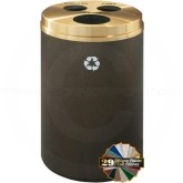 "Glaro BCW20 Recycle Pro 3 Recycling Can with Three Hole Openings - 33 Gallon Capacity - 20"" Dia. x 31"" H - Your choice of color"