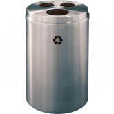 "Glaro BCW20SA Recycle Pro 3 Recycling Can with Three Hole Openings - 33 Gallon Capacity - 20"" Dia. x 31"" H - Satin Aluminum"