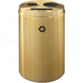 "Glaro BPW20BE Recycle Pro 3 Recycling Can with Paper Recycling Slot and Two Round Openings - 33 Gallon Capacity - 20"" Dia. x 31"" H - Satin Brass"