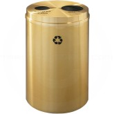 "Glaro BW2032BE Recycle Pro 2 Recycling Can with Two Round Openings - 33 Gallon Capacity - 20"" Dia. x 31"" H - Satin Brass"