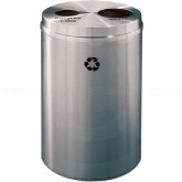 "Glaro BW2032SA Recycle Pro 2 Recycling Can with Two Round Openings - 33 Gallon Capacity - 20"" Dia. x 31"" H - Satin Aluminum"