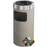 "Glaro C1531 Mount Everest Sand Cover Ash/Trash Can - 10 Gallon Capacity - 15"" Dia. x 31"" H - Satin Aluminum Cover"