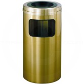 "Glaro C1560BE Atlantis All Weather WasteMaster Sand Cover Ash/Trash Receptacle - 10 Gallon Capacity - 15"" Dia. x 31"" H - All-Weather Satin Brass"