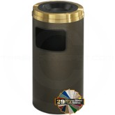 "Glaro C1560 Mount Everest Sand Cover Ash/Trash Receptacle - 10 Gallon Capacity - 15"" Dia. x 31"" H - Satin Brass Cover"