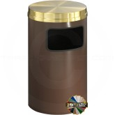 "Glaro C2041 Mount Everest Flat Top Trash Container - 17 Gallon Capacity - 20"" Dia. x 31"" H - Satin Brass Cover"