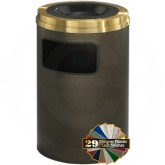 "Glaro C2060 Mount Everest Sand Cover Ash/Trash Container - 17 Gallon Capacity - 20"" Dia. x 31"" H - Satin Brass Cover"