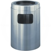 "Glaro C2031SA New Yorker WasteMaster Sand Cover Ash/Trash Receptacle - 17 Gallon Capacity - 20"" Dia. x 31"" H - Satin Aluminum"
