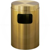 "Glaro C2066BE Atlantis All Weather WasteMaster Flat Top Trash Can - 17 Gallon Capacity - 20"" Dia. x 31"" H - All-Weather Satin Brass"