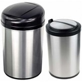 Nine Stars CB-DZT-40-8 /12-18 Combo Infrared Touchless Waste Receptacles - (1) 10.6 Gallon and (1) 3.2 Gallon Capacity - Stainless Steel with Black Accents