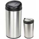 Nine Stars CB-DZT-49-8/12-18 Combo Infrared Touchless Waste Receptacles - (1) 13 Gallon and (1) 3.2 Gallon Capacity - Stainless Steel with Black Accents