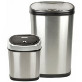 Nine Stars CB-DZT-50-13/12-9 Combo Infrared Touchless Waste Receptacles - (1) 13.2 Gallon and (1) 3.2 Gallon Capacity - Stainless Steel with Black Accents