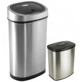 Nine Stars CB-DZT-50-9/8-1 Combo Infrared Touchless Waste Receptacles - (1) 13.2 Gallon and (1) 2.1 Gallon Capacity - Stainless Steel with Black Accents