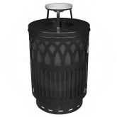 "Witt Industries Covington Collection Classic Trash Can with Ash Top Lid - 40 Gallon Capacity - 24"" Dia. x 42.85"" H - Black in Color"