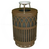 "Witt Industries Covington Collection Classic Trash Can with Ash Top Lid - 40 Gallon Capacity - 24"" Dia. x 42.85"" H - Brown in Color"