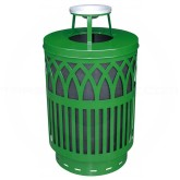"Witt Industries Covington Collection Classic Trash Can with Ash Top Lid - 40 Gallon Capacity - 24"" Dia. x 42.85"" H - Green in Color"