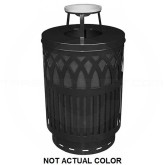 "Witt Industries COV40P-AT-SLV Covington Collection Classic Trash Can with Ash Top Lid - 40 Gallon Capacity - 24"" Dia. x 42.85"" H - Silver in Color"