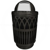 "Witt Industries Covington Collection Classic Trash Can with Dome Top Lid - 40 Gallon Capacity - 24"" Dia. x 44"" H - Black in Color"