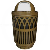 "Witt Industries Covington Collection Classic Trash Can with Dome Top Lid - 40 Gallon Capacity - 24"" Dia. x 44"" H - Brown in Color"