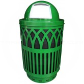 "Witt Industries Covington Collection Classic Trash Can with Dome Top Lid - 40 Gallon Capacity - 24"" Dia. x 44"" H - Green in Color"