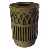"Witt Industries Covington Collection Classic Trash Can with Flat Top Lid - 40 Gallon Capacity - 24"" Dia. x 34 5/8"" H - Brown in Color"