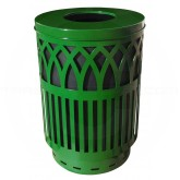 "Witt Industries Covington Collection Classic Trash Can with Flat Top Lid - 40 Gallon Capacity - 24"" Dia. x 34 5/8"" H - Green in Color"