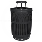 "Witt Industries Covington Collection Classic Trash Can with Rain Cap - 40 Gallon Capacity - 24"" Dia. x 42.85"" H - Black in Color"
