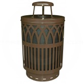 "Witt Industries Covington Collection Classic Trash Can with Rain Cap - 40 Gallon Capacity - 24"" Dia. x 42.85"" H - Brown in Color"