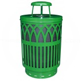 "Witt Industries Covington Collection Classic Trash Can with Rain Cap - 40 Gallon Capacity - 24"" Dia. x 42.85"" H - Green in Color"