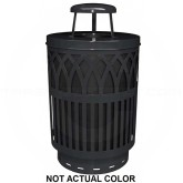 "Witt Industries COV40P-RC-SLV Covington Collection Classic Trash Can with Rain Cap - 40 Gallon Capacity - 24"" Dia. x 42.85"" H - Silver in Color"
