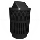 "Witt Industries Covington Collection Classic Trash Can with Swing Top Lid - 40 Gallon Capacity - 24"" Dia. x 44"" H - Black in Color"
