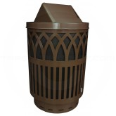"Witt Industries Covington Collection Classic Trash Can with Swing Top Lid - 40 Gallon Capacity - 24"" Dia. x 44"" H - Brown in Color"