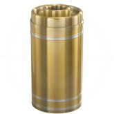 "Glaro D1534BE Capri WasteMaster Donut Top Ash/Trash Receptacle - 16 Gallon Capacity - 15"" Dia. x 34"" H - Satin Brass with Satin Aluminum Bands"