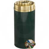 "Glaro D1541 Mount Everest Donut Top Ash/Trash Bin - 16 Gallon Capacity - 15"" Dia. x 33"" H - Satin Brass Cover"