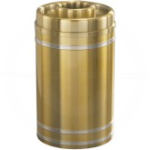 "Glaro D2034BE Capri WasteMaster Donut Top Ash/Trash Receptacle - 33 Gallon Capacity - 20"" Dia. x 36"" H - Satin Brass with Satin Aluminum Bands"