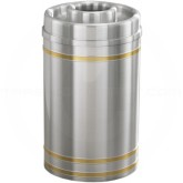 "Glaro D2034SA Capri WasteMaster Donut Top Ash/Trash Receptacle - 33 Gallon Capacity - 20"" Dia. x 36"" H - Satin Aluminum with Satin Brass Bands"
