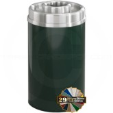 "Glaro D2035 Mount Everest Donut Top Ash/Trash Container - 33 Gallon Capacity - 20"" Dia. x 35"" H - Satin Aluminum Cover"