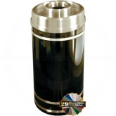 "Glaro D2055 Monte Carlo WasteMaster Donut Top Ash/Trash Receptacle - 33 Gallon Capacity - 20"" Dia. x 35"" H - Satin Brass Accents"