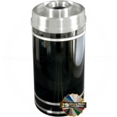 "Glaro D2056 Monte Carlo WasteMaster Donut Top Ash/Trash Receptacle - 33 Gallon Capacity - 20"" Dia. x 36"" H - Satin Aluminum Accents"