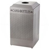 Rubbermaid FGDCR24CSM Silhouette Recycling Receptacle - Cans and Bottles - 29 Gallon Capacity - Silver Metallic in Color