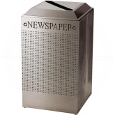 Rubbermaid FGDCR24PSS Silhouette Recycling Receptacle - Newspaper - 29 Gallon Capacity - Stainless Steel