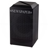 Rubbermaid FGDCR24PTBK Silhouette Recycling Receptacle - Newspaper - 29 Gallon Capacity - Textured Black