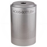 Rubbermaid FGDRR24CSM Round Silhouette Recycling Receptacle - Cans & Bottles - 26 Gallon Capacity - Silver Metallic