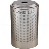 Rubbermaid FGDRR24CSS Round Silhouette Recycling Receptacle - Cans & Bottles - 26 Gallon Capacity - Stainless Steel