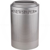 Rubbermaid FGDRR24PSM Round Silhouette Recycling Receptacle - Newspaper - 26 Gallon Capacity - Silver Metallic