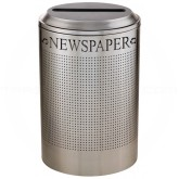 Rubbermaid FGDRR24PSS Round Silhouette Recycling Receptacle - Newspaper - 26 Gallon Capacity - Stainless Steel