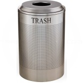 Rubbermaid FGDRR24TSS Round Silhouette Trash Receptacle - 26 Gallon Capacity - Stainless Steel