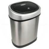 "Nine Stars DZT-12-9 Infrared Touchless Waste Receptacle - 3.2 Gallon Capacity - 12"" L x 8 2/5"" W x 15 1/5"" H - Stainless Steel with Black Top"