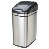 "Nine Stars DZT-30-1 Infrared Touchless Waste Receptacle - 7.9 Gallon Capacity - 14 3/5"" L x 10 2/5"" W x 21 4/5"" H - Stainless Steel with Black Top"